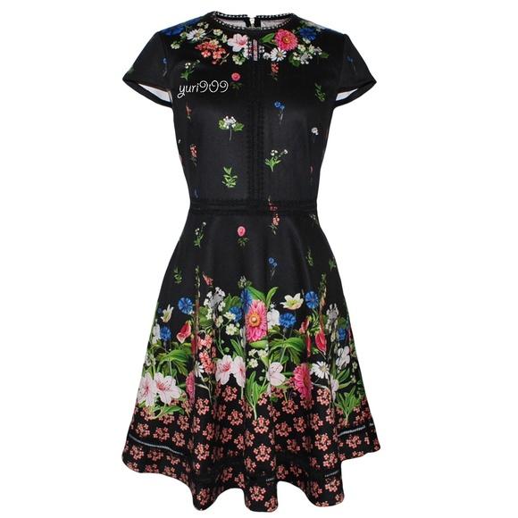 ab4812ba1678c3 Ted Baker London Black Daissie Florence Trim Dress